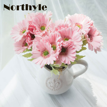 DH artificial Gerbera 7pcs / lot real touch fake daisy bouquet home floral decoration diy wedding flower chrysanthemum ornament