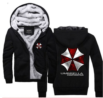Resident Evil Hoodies Umbrella Corporation, Logo Zip Up Siyah Polyester Polar Süper Sıcak Tişörtü Mont